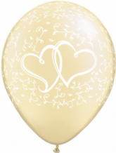 Wedding Balloons Entwined Hrts (Ivory) - 11 Inch Balloons 25pcs